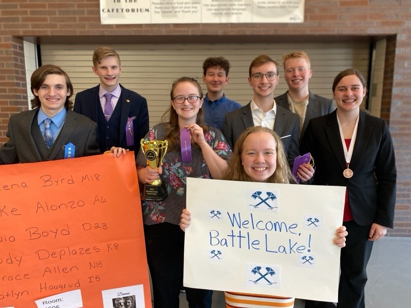 First Place Trophy for Battle Lake Speech at Brainerd!