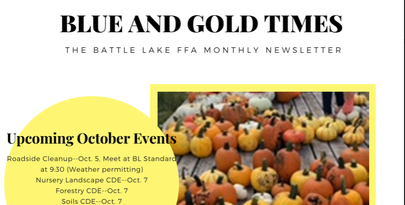 "A preview of the ""Blue and Gold Times""-A Battle Lake FFA Monthly Newsletter."