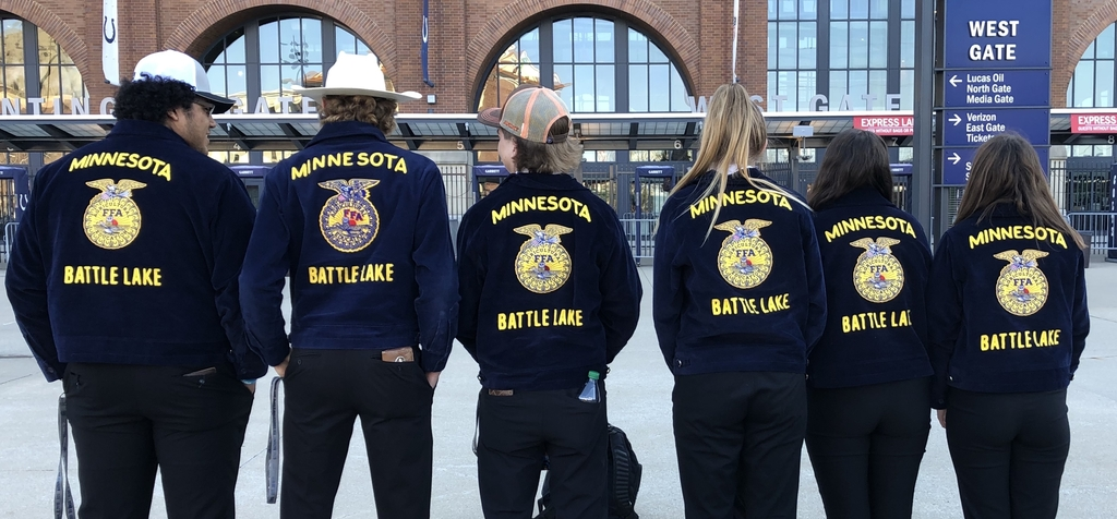6 Battle Lake FFA Members in front of Lucas Oil Stadium, Indianapolis, Indiana