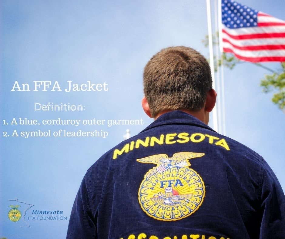 An FFA Jacket. Definition: a blue corduroy outer garment. 2. A symbol of leadership