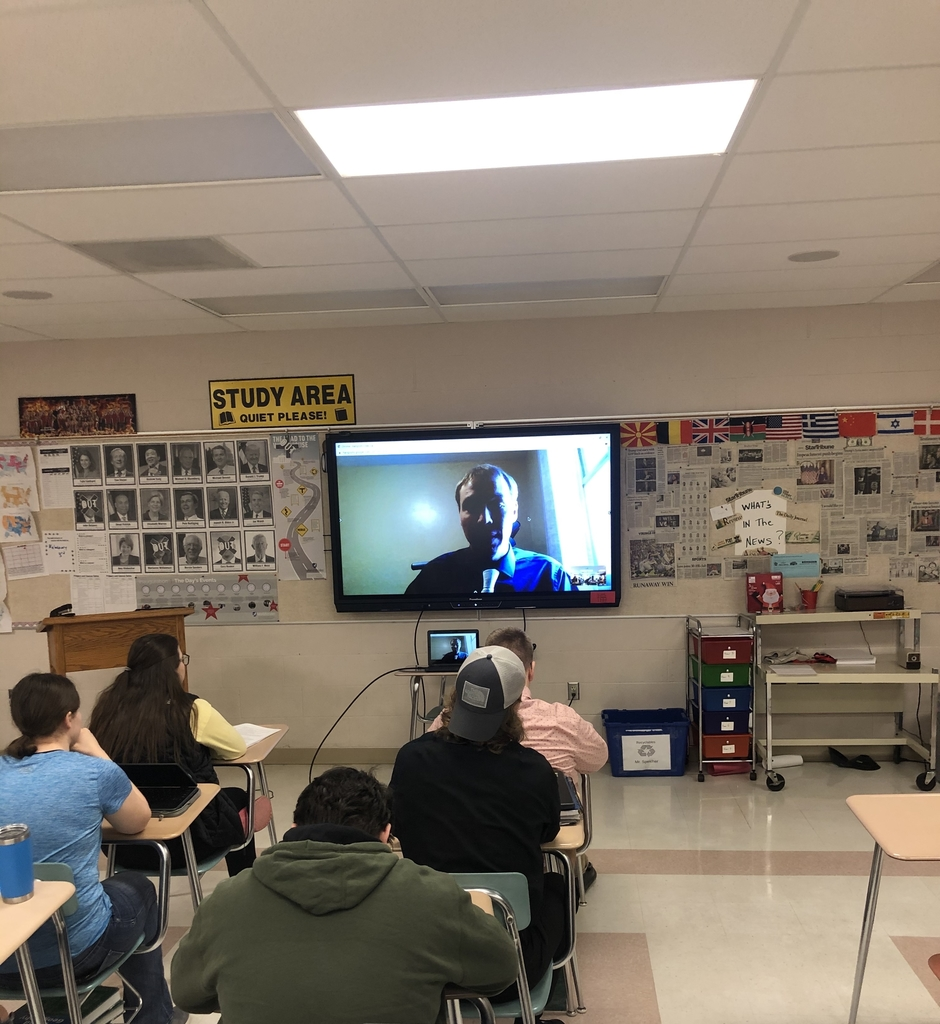 Nick Anderson video chatting with students